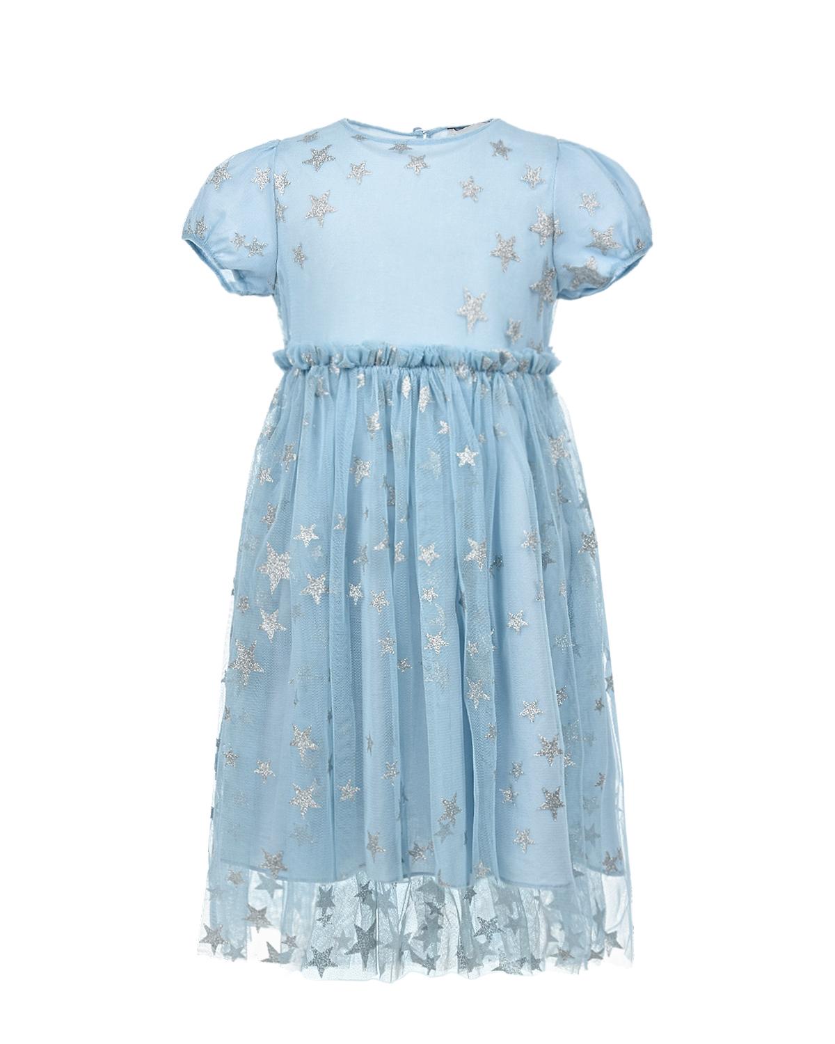 Голубое платье с серебряными звездами Stella McCartney детское, Голубой, 100%полиэстер, 100%хлопок  - купить со скидкой