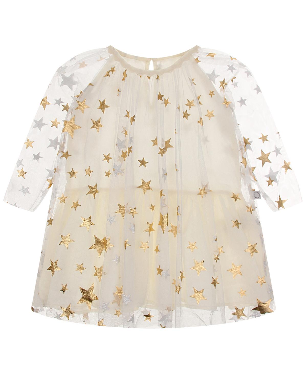 Купить Кремовое платье со звездами Stella McCartney детское, Кремовый, 100%полиэстер, 100%хлопок