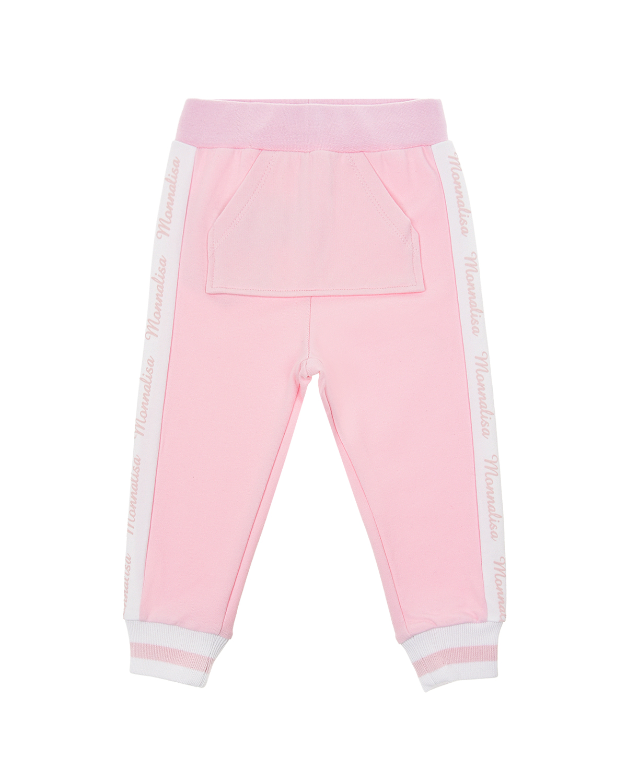 Розовые спортивные брюки с карманом-кенгуру Monnalisa детские фото