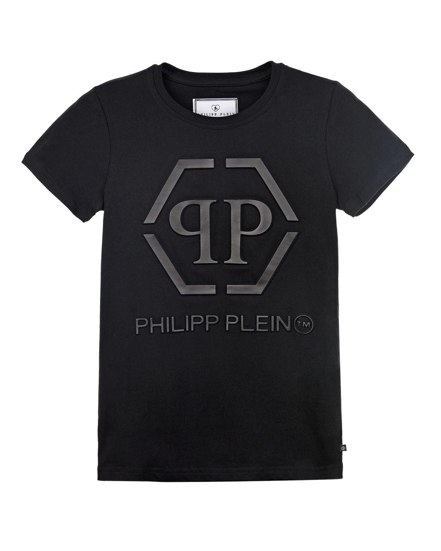 Купить Черная футболка с логотипом Philipp Plein детская
