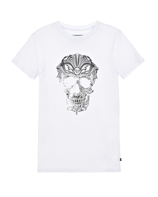 Белая футболка с контрастным принтом Philipp Plein детская фото