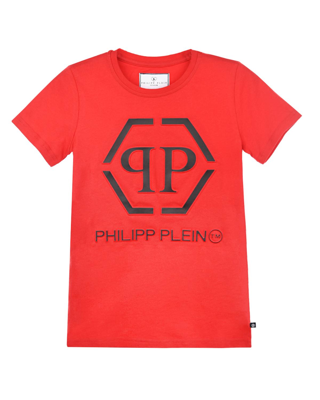 Купить Красная футболка с контрастным логотипом Philipp Plein детская