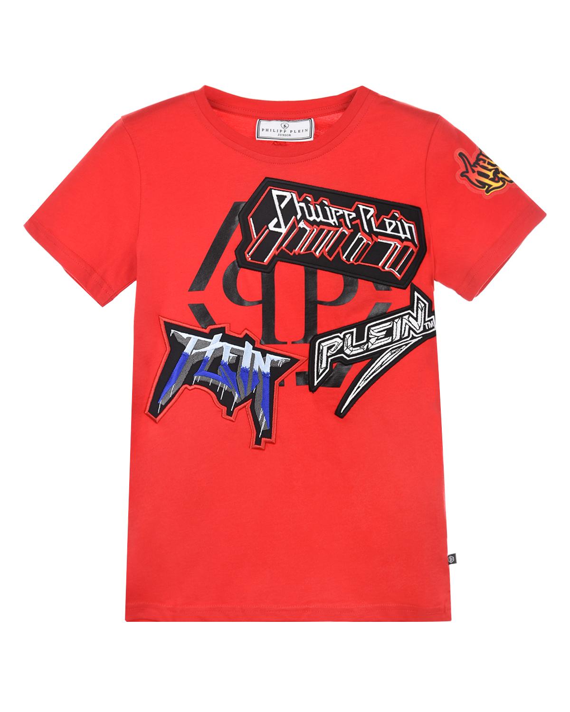 Купить Красная футболка с аппликациями в стиле граффити Philipp Plein детская