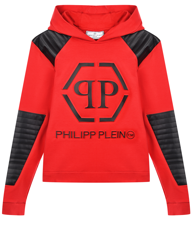 Купить Красная толстовка-худи с черными вставками Philipp Plein детская