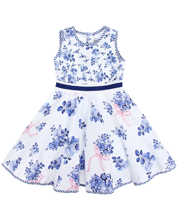 """Платье с принтом """"голубые цветы"""" Monnalisa детское фото"""