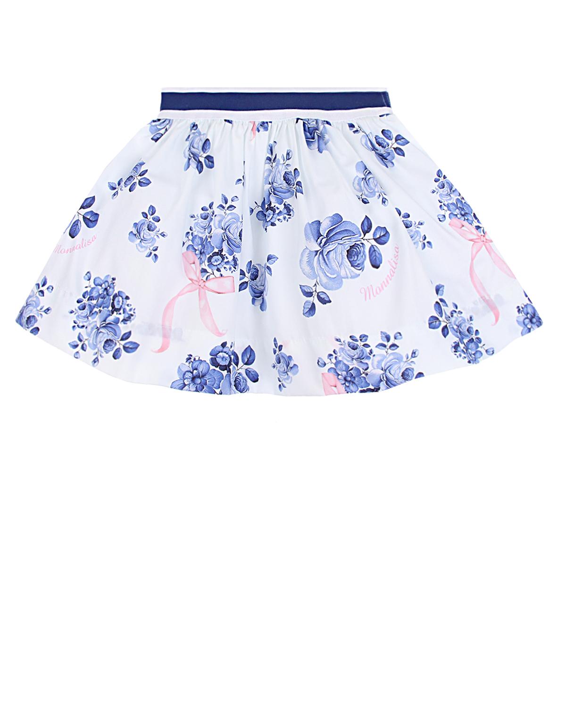 Белая юбка с цветочным принтом Monnalisa детская фото