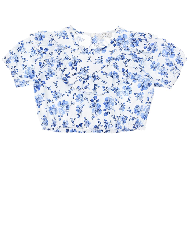 Белая блуза с цветочным принтом Monnalisa детская фото