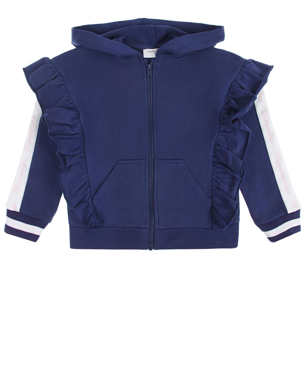 Синяя спортивная куртка с оборками и лампасами Monnalisa детская фото