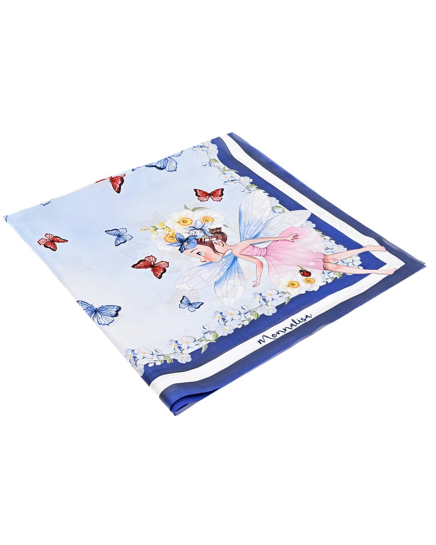Купить Платок с принтом Фея 65x65 см Monnalisa детский, Голубой, 100%полиэстер