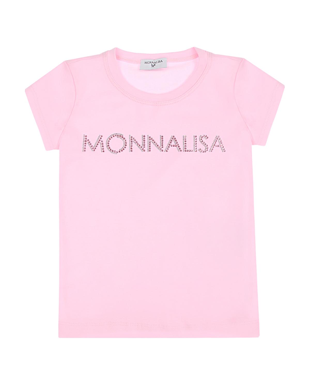 Розовая футболка со стразами Monnalisa детская фото