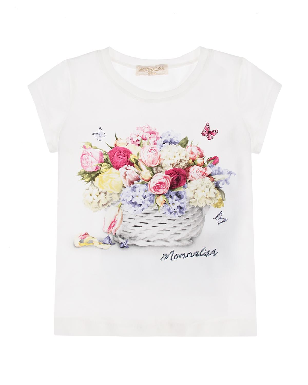 Купить Белая футболка с принтом корзина цветов Monnalisa детская, Белый, 95%хлопок+5%эластан