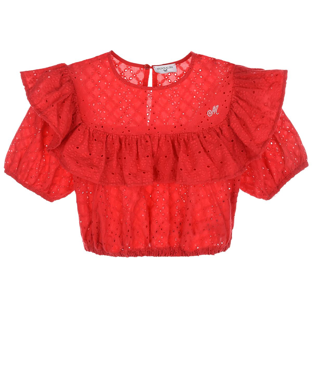 Купить Красный топ с английской вышивкой Monnalisa детский, 100%хлопок