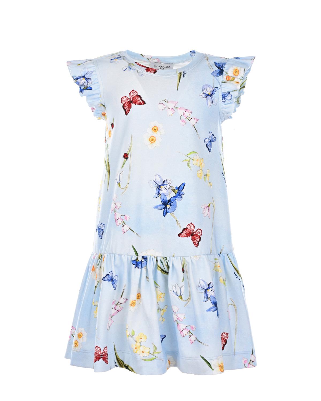 Платье-трапеция с рукавами-крылышками Monnalisa детское фото