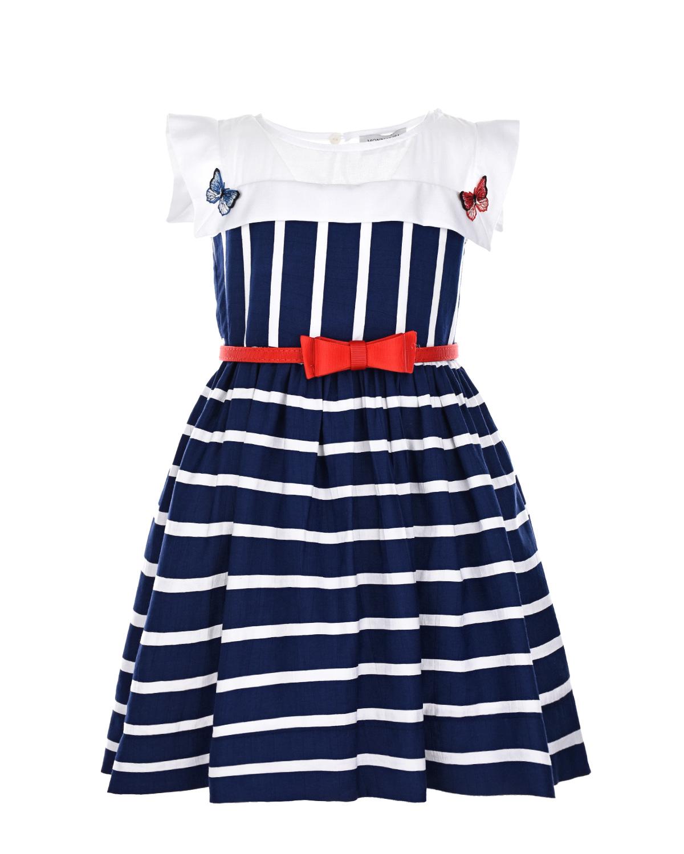 Купить Платье без рукавов в полоску Monnalisa детское, Синий, 88%вискоза+12%полиэстер, 100%хлопок, 100%полиамид