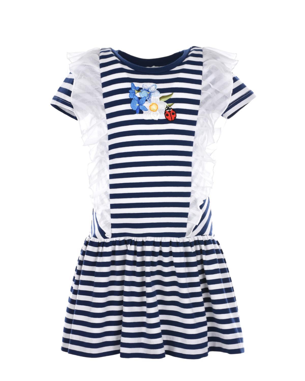 Платье в сине-белую полоску с оборками Monnalisa детское фото