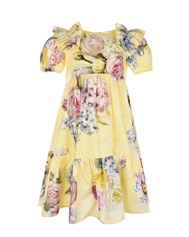 Желтое платье с цветочным принтом Monnalisa детское фото