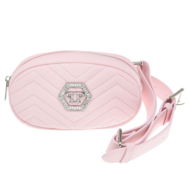 Розовая сумка со стразами, 18x11x5 см Philipp Plein детская фото