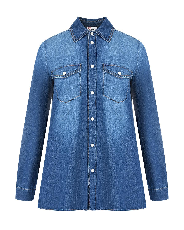 Купить Джинсовая рубашка со вставкой плиссе Red Valentino, Голубой, 100%хлопок, 100%полиэстер