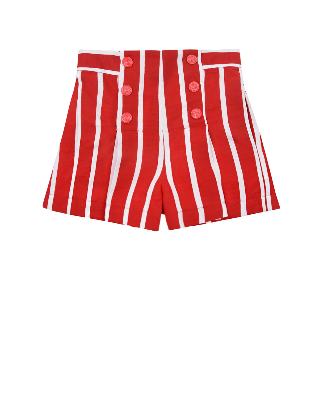 Красные шорты в полоску с двумя рядами пуговиц Monnalisa детские фото