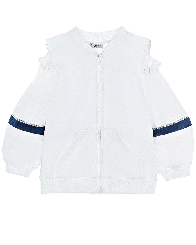 Купить Спортивная куртка с открытыми плечами Monnalisa детская, Белый, 73%хлопок+22%полиэстер+5%эластан