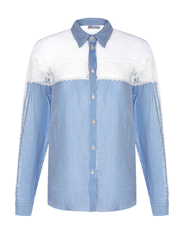 Купить Рубашка с кружевными вставками Red Valentino, Голубой, 75%хлопок+25%шелк, 67%хлопок+33%полиамид, 100%хлопок