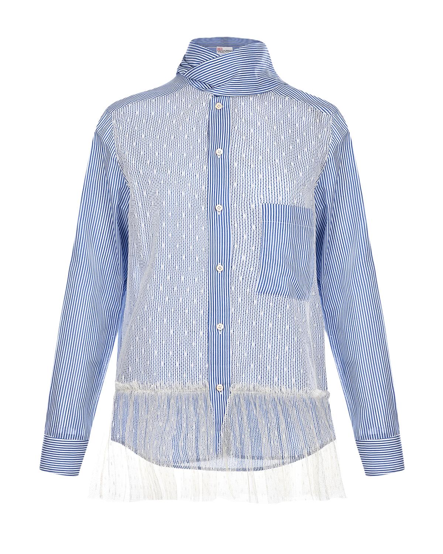 Купить Рубашка с воротом на завязках Red Valentino, Голубой, 75%хлопок+25%шелк, 100%полиэстер
