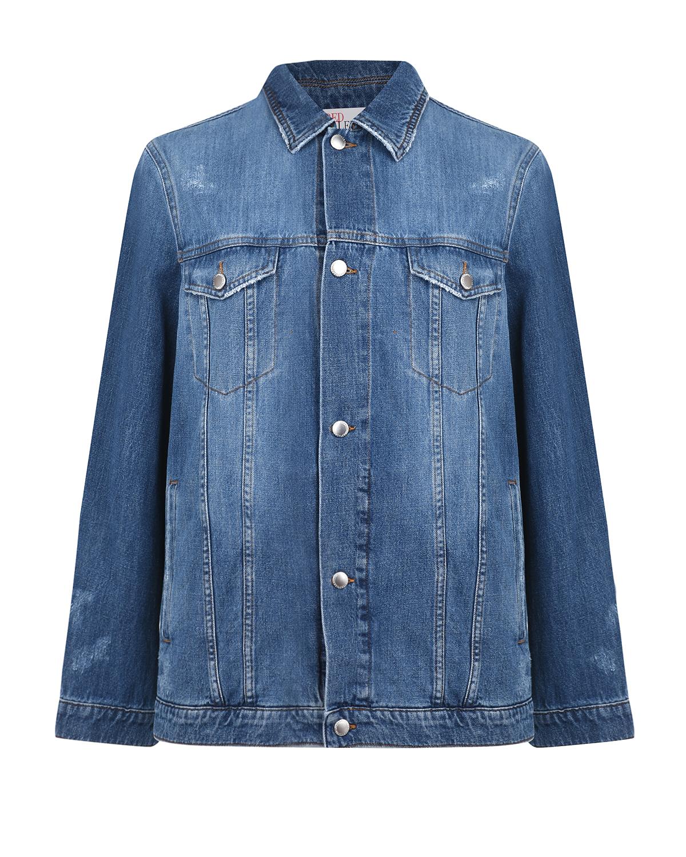 Купить Джинсовая куртка с плиссированной спинкой Red Valentino, Синий, 100%хлопок, 98%хлопок+2%эластан, 66%полиэстер+34%хлопок, 100%полиэстер