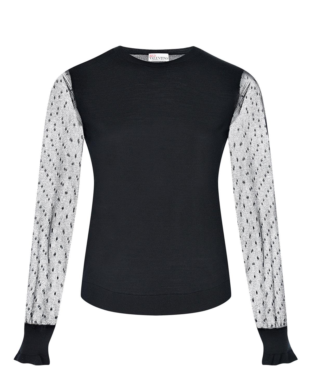 Купить Черная трикотажная блузка с прозрачными рукавами Red Valentino, Черный, 70%шерсть+20%шелк+10%кашемир, 100%полиамид