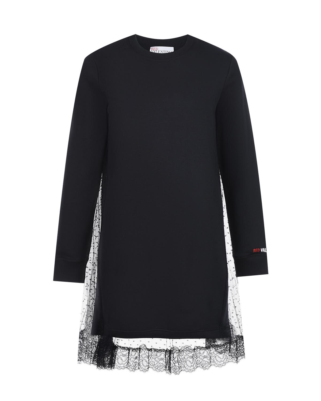 Купить Платье в спортивном стиле с кружевной отделкой Red Valentino, Черный, 88%хлопок+12%полиэстер, 95%хлопок+5%эластан, 100%полиэстер, 100%полиамид