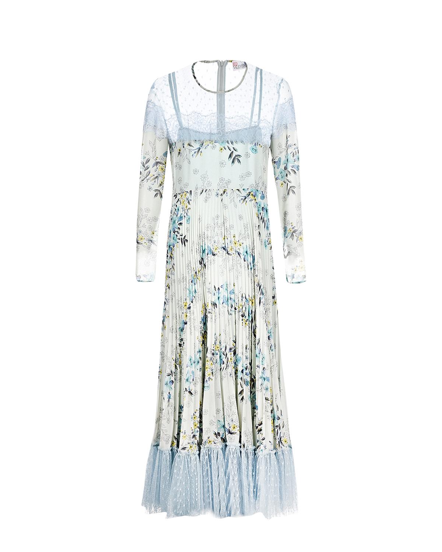 Купить Плиссированное платье с кружевной отделкой Red Valentino, Голубой, 100%полиэстер