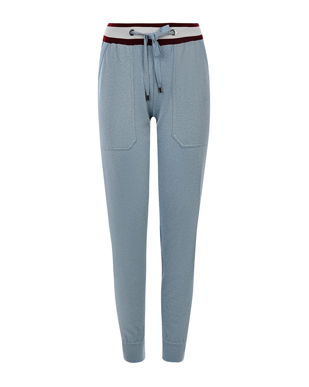 Купить Cпортивные брюки из шерсти и кашемира с контрастным поясом MRZ, Голубой, 38%шерсть+37%вискоза+17%полиэстер+5%флис+3%полиамид