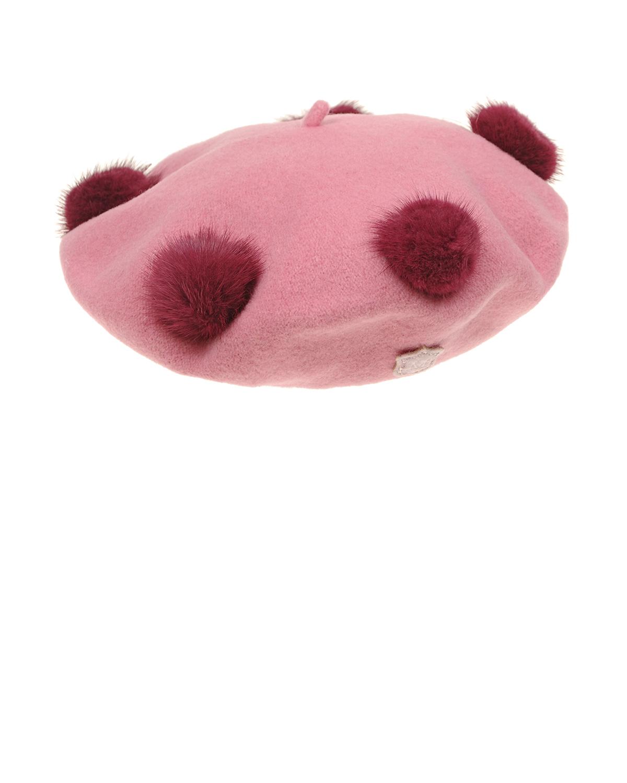 Купить Берет из шерсти с помпонами Monnalisa детский, Розовый, 100%шерсть