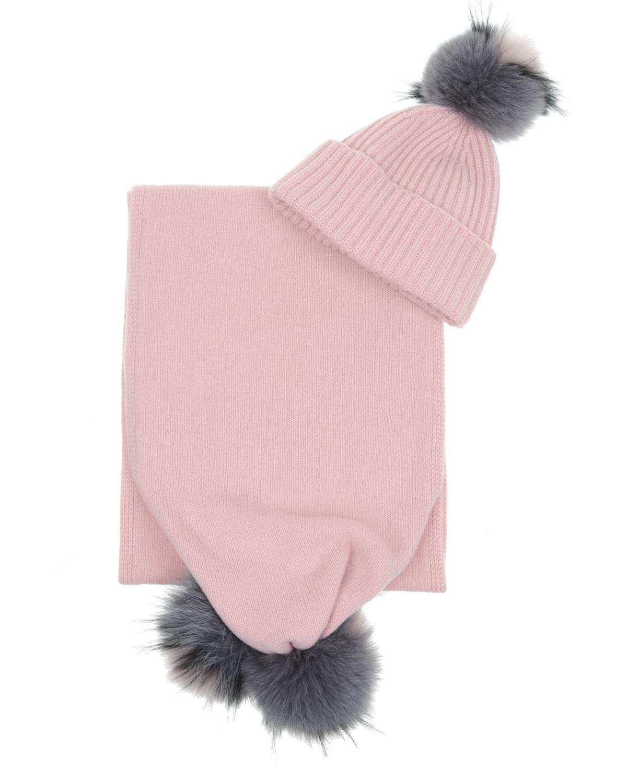 Купить Шапка и шарф из шерсти и кашемира с помпоном MRZ