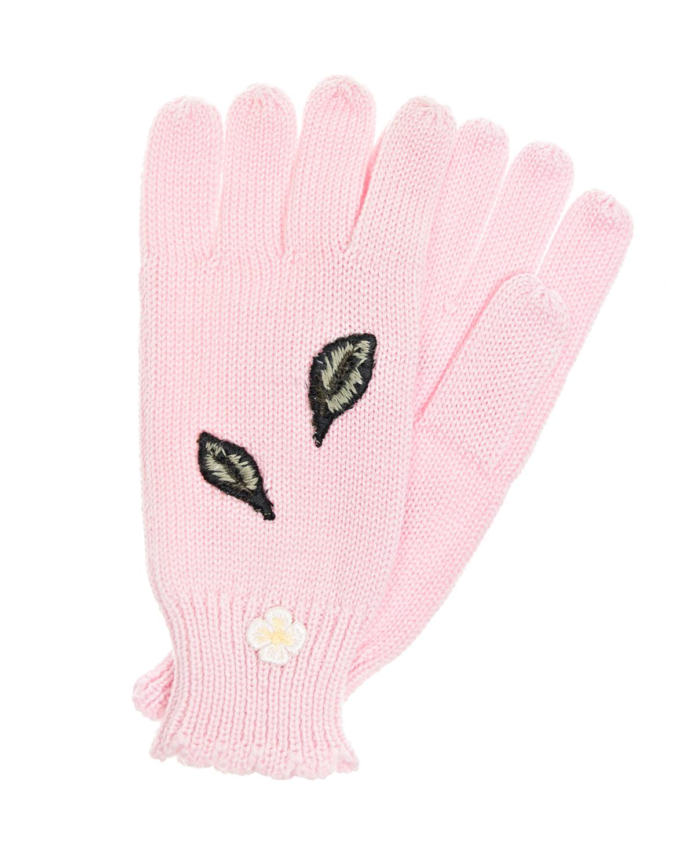 Перчатки с аппликацией и вышивкой MonnalisaВарежки и перчатки<br>Вязаные розовые перчатки Monnalisa. Модель идеально облегает руку, рифленые манжеты дополнительно защищают от ветра. Перчатки украшены асимметричными аппликациями с цветком и листиками, а также вышитой пчелой.