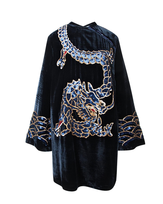 """Купить со скидкой Бархатное платье в восточном стиле с декором """"дракон"""""""