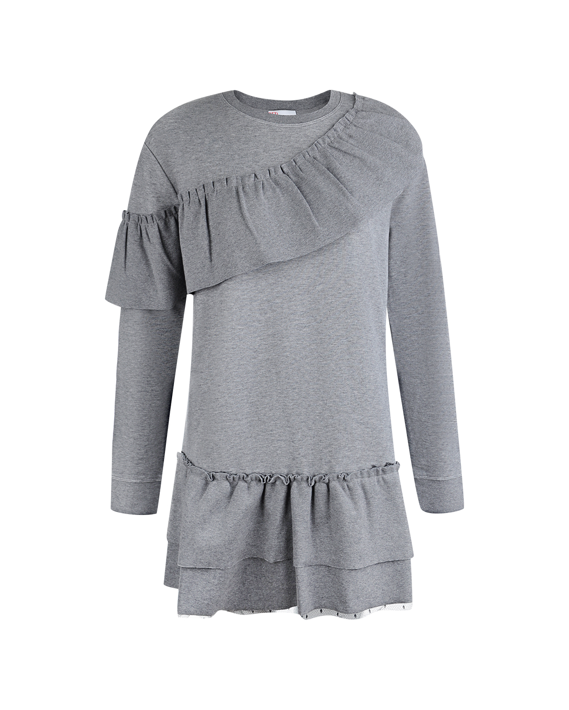 Удлиненный свитшот Red ValentinoТрикотаж<br>Удлиненный свитшот с ассиметричной оборкой на плече и воланами. можно носить как с джинсами, так и как отдельную вещь гардероба - мини-платье. Модель выполнена из мягкого хлопкового трикотажа , а низ дополненпрозрачно-черной тюлевой вставкой в горошек.
