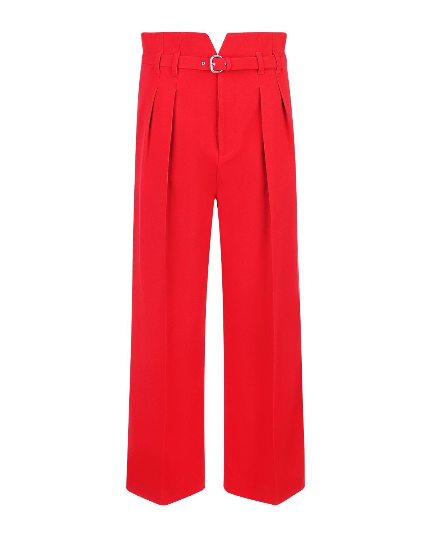 Брюки Red ValentinoБрюки<br>Классические однотонные укороченные брюки свободного кроя с завышенной талией и элегантным металлизированным ремешком