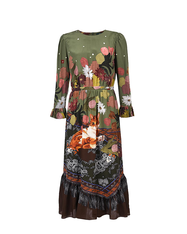 Купить со скидкой Шелковое платье с принтом Alena Akhmadullina