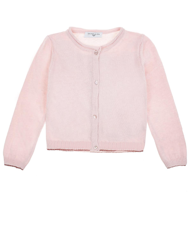 Купить Вязаная кофта на пуговицах Monnalisa детская, Розовый, 45%вискоза+25%полиамид+25%шерсть+5%кашемир