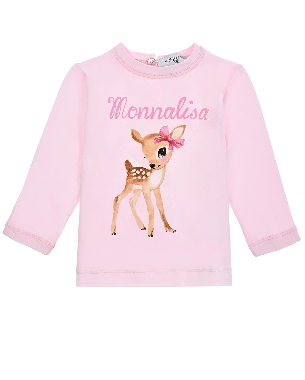 Купить Розовая толстовка с застежкой на пуговицу Monnalisa детская, Розовый, 93%хлопок+7%эластан