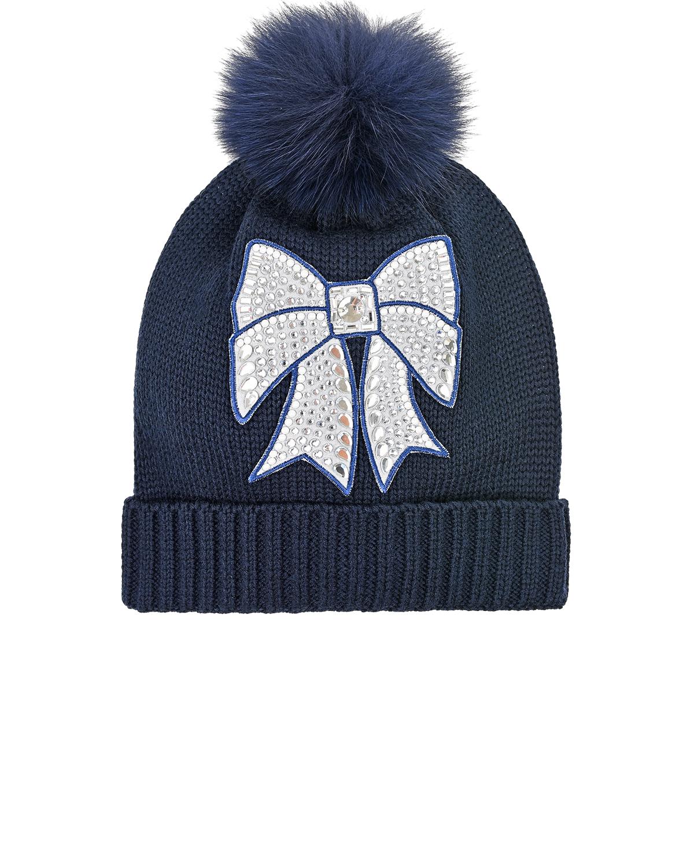 Синяя шапка с бантом из страз Monnalisa детская фото