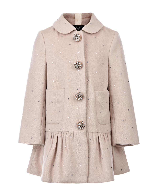 Пальто с воланом и стразами Monnalisa детское фото