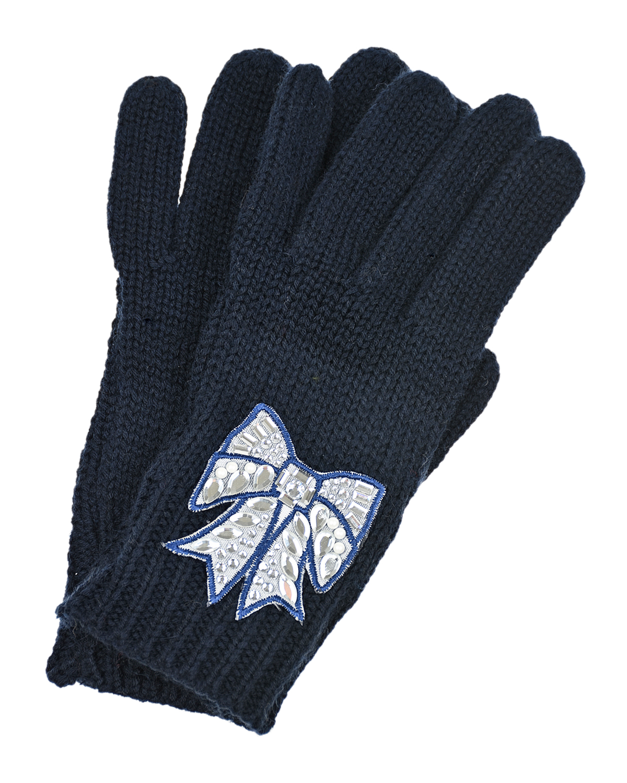 Купить Перчатки с аппликацией и стразами Monnalisa детские, Синий, 37%полиэстер+24%акрил+20%полиамид+19%шерсть