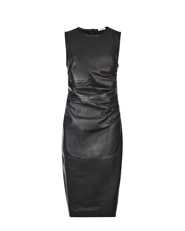 Купить Черное кожаное платье Parosh, Черный, 100%натур.кожа, 66%вискоза+30%полиамид+4%эластан, 94%полиэстер+6%эластан