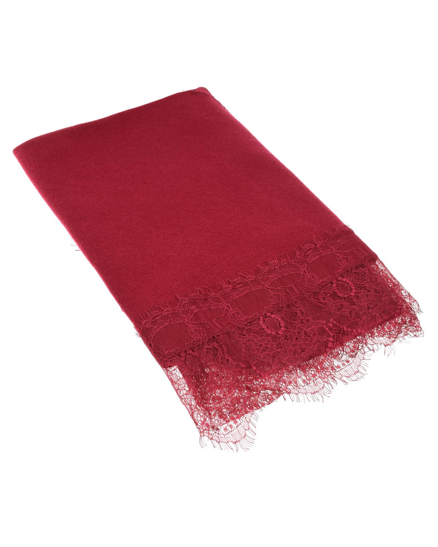 Купить Красный шарф с кружевной отделкой TWINSET, 80%шерсть+20%кашемир, 100%полиамид
