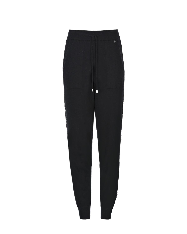 Купить Черные брюки с кружевными лампасами TWINSET