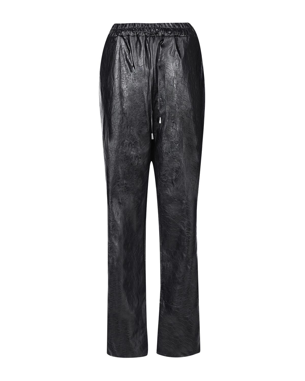 Купить Черные брюки из эко-кожи TWINSET, Черный, 100%полиэстер, 68%акрил+32%полиэстер