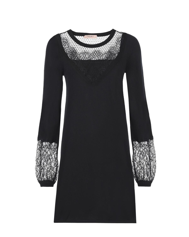 Черное платье с кружевом TWINSET фото