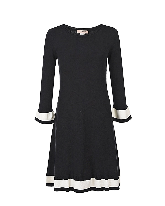 Купить Трикотажное платье с контрастной отделкой TWINSET, Черный, 70%вискоза+30%полиэстер