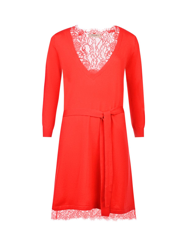 Купить Красное трикотажное платье с кружевной отделкой TWINSET, Красный, 44%вискоза+40%полиамид+13%шерсть+3%эластан, 57%полиамид+43%вискоза